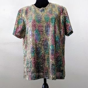 VTG Disco Ball Color Shift Iridescent Sequin Shirt